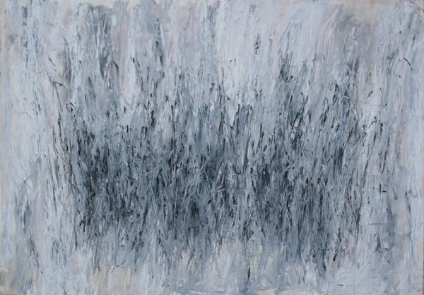 0005 Concetto Pozzati, Paesaggio, 1957, olio su carta