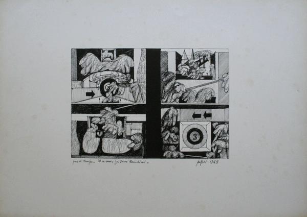 0012 Concetto Pozzati, 4 in uno, per Vasco Bendini, 1963, litografia pds