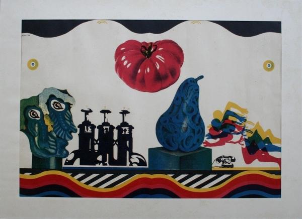 0014 Concetto Pozzati, 1966, litografia pds