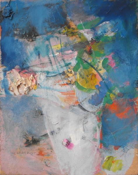 0022 Franco Corradini, Fiori, 1968, olio su tavola