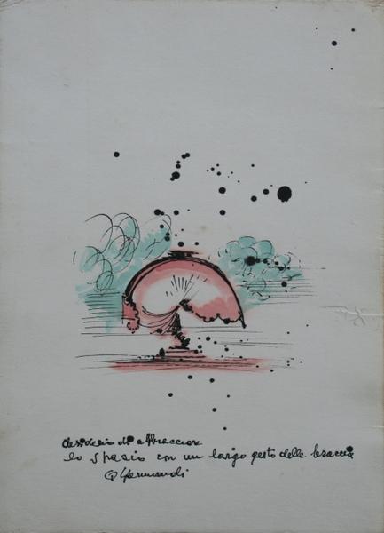 0136 Quinto Ghermandi, Desiderio di abbracciare lo spazio in un largo gesto delle braccia, t.m. su carta