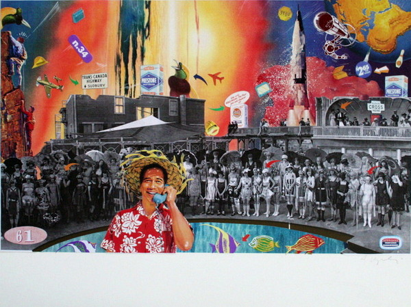 Augusto Vignali, progetto per pubblicita Compagnie Canadienne, anni Ottanta, collage