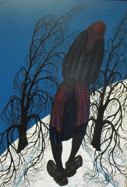 Bruno Bricoli Colibri, Donna nella neve, 1977, olio su tela