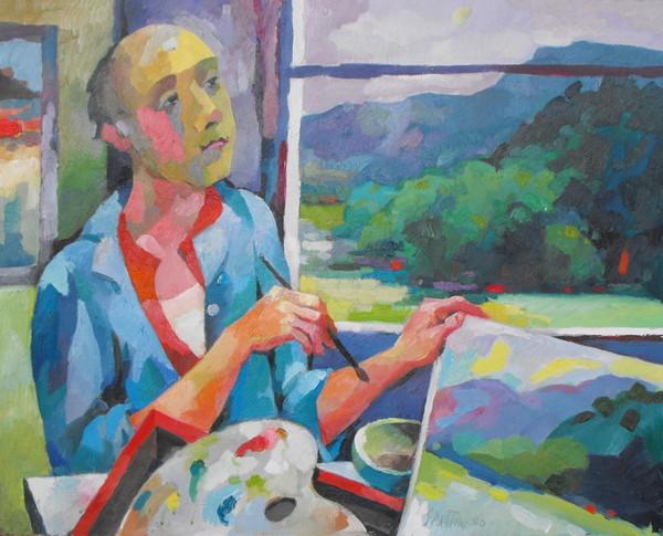 Claudio Spattini, Autoritratto con paesaggio, 2000, olio su tela