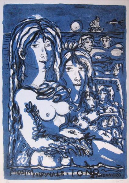 Tono Zancanaro, Mostra personale Tono, 1966, litografia p.d.a.
