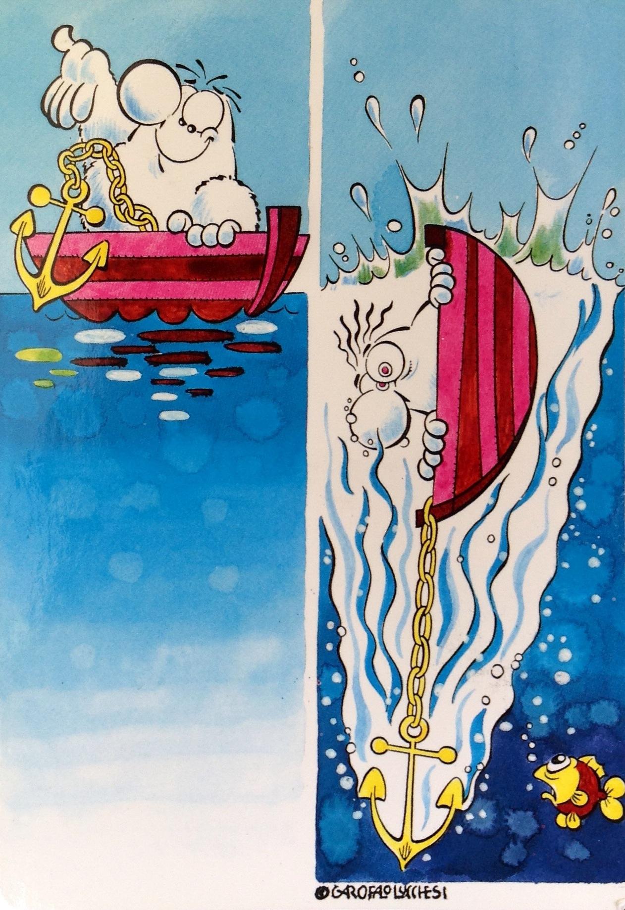 Cartolina Alfonso in barca 15x103 cm 1