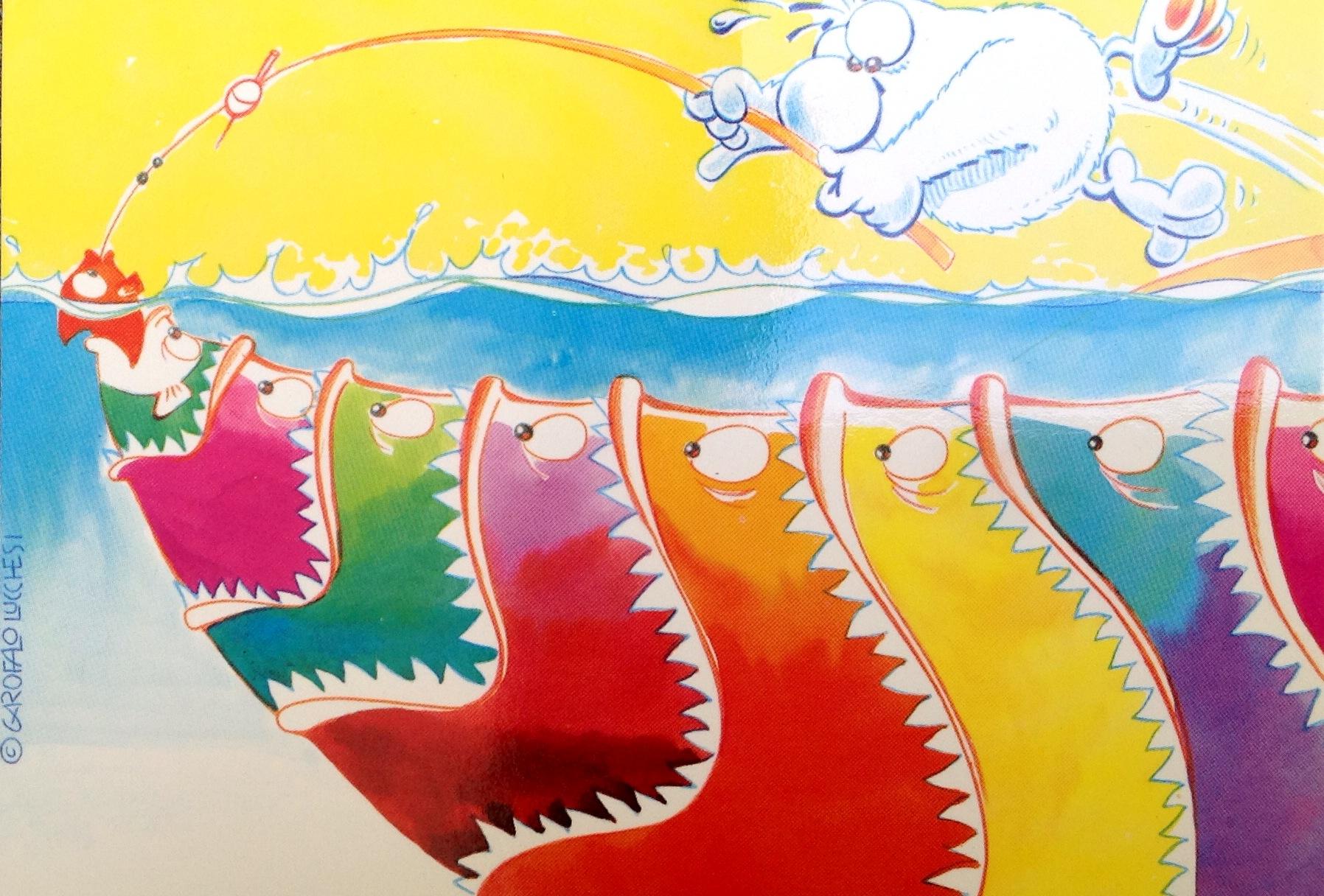 Cartolina Alfonso pescatore 103x15 cm