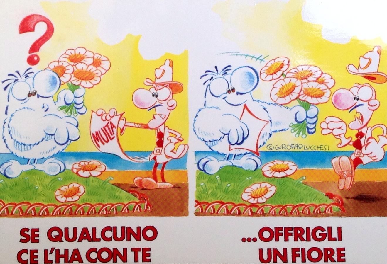 Cartolina Alfonso prende la multa 103x15 cm 1